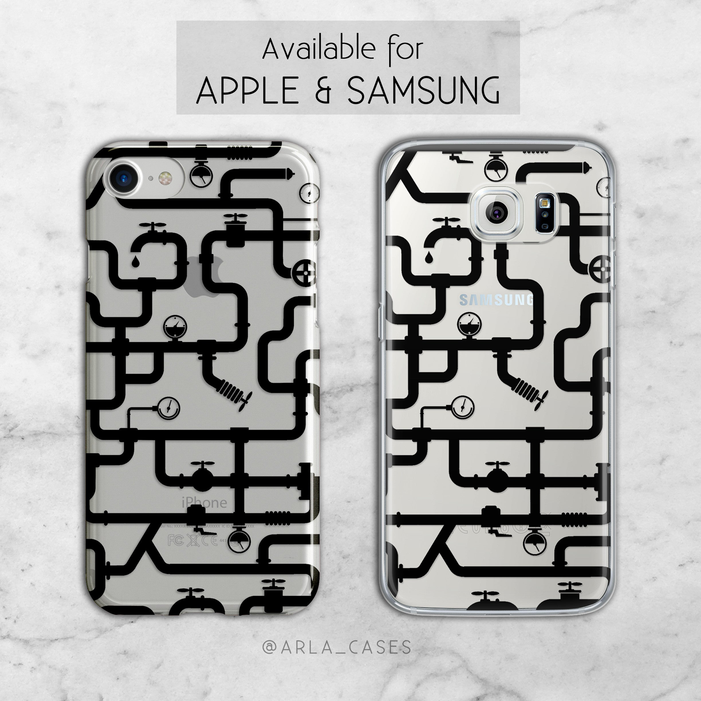 Water Pipe Silhoutte Pattern iPhone and Galaxy Case