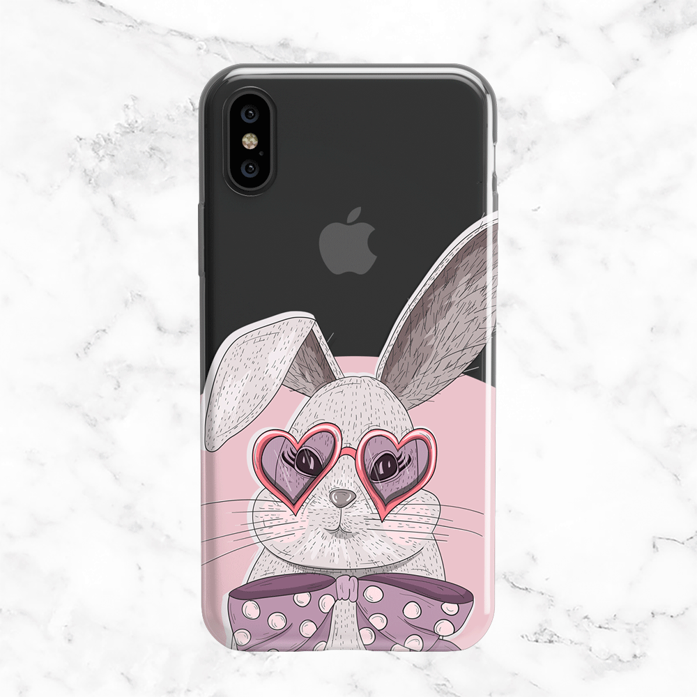 Valentine's Day Bunny - Clear Phone Case with Print