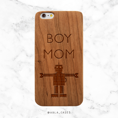 Boy Mom Robot Wood Phone Case