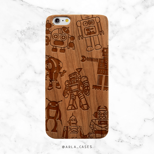 Robots Wood Phone Case