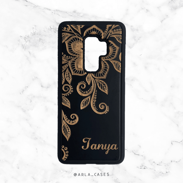 Custom Floral Name Wood iPhone and Galaxy Phone Case