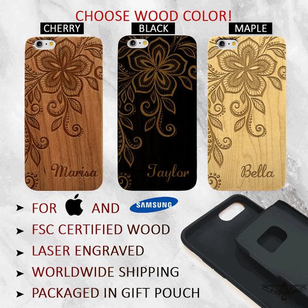 Floral Lace Phone Case with Custom Text