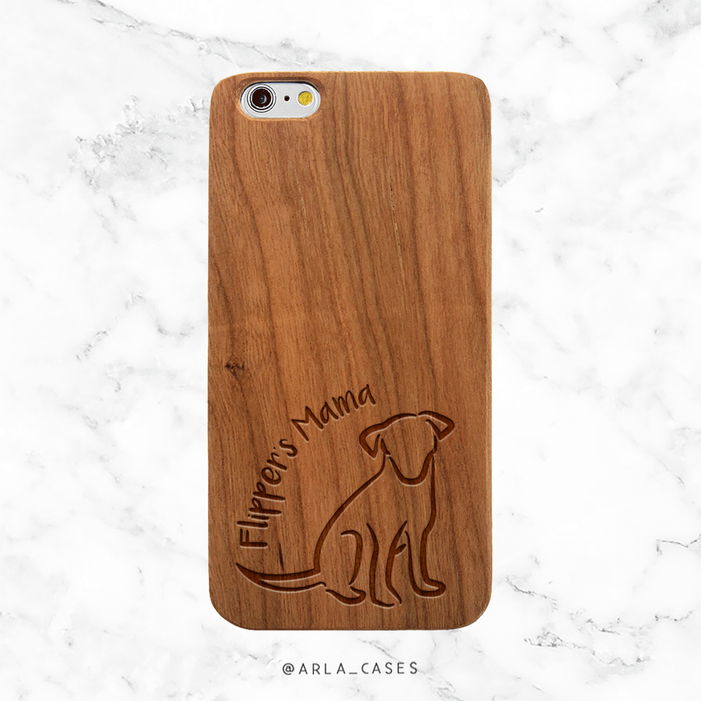 Custom Dog Mom Wood Phone Case