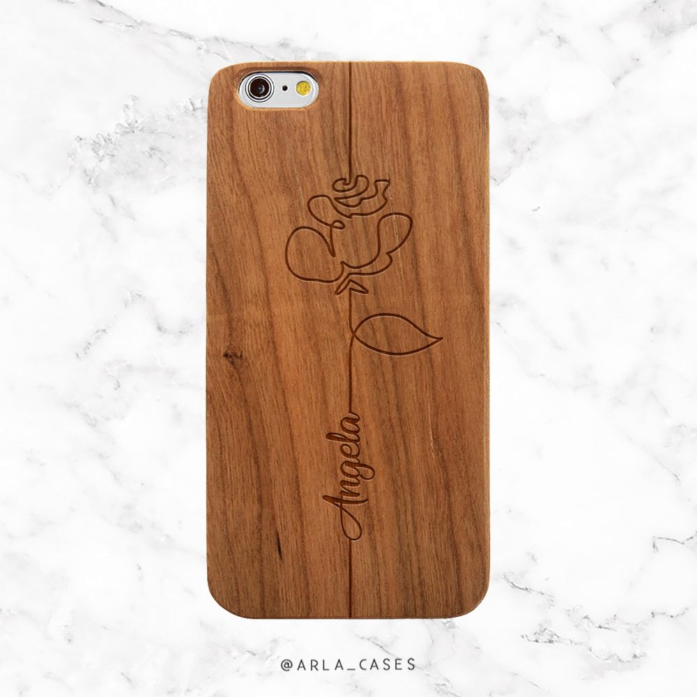Custom Rose with Name Wood iPhone Case