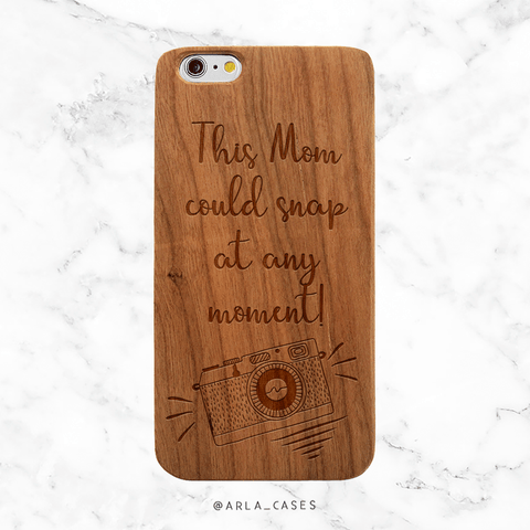 Photographer Mom Wood iPhone Case