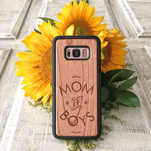 Mom of Boys Wood Phone Case