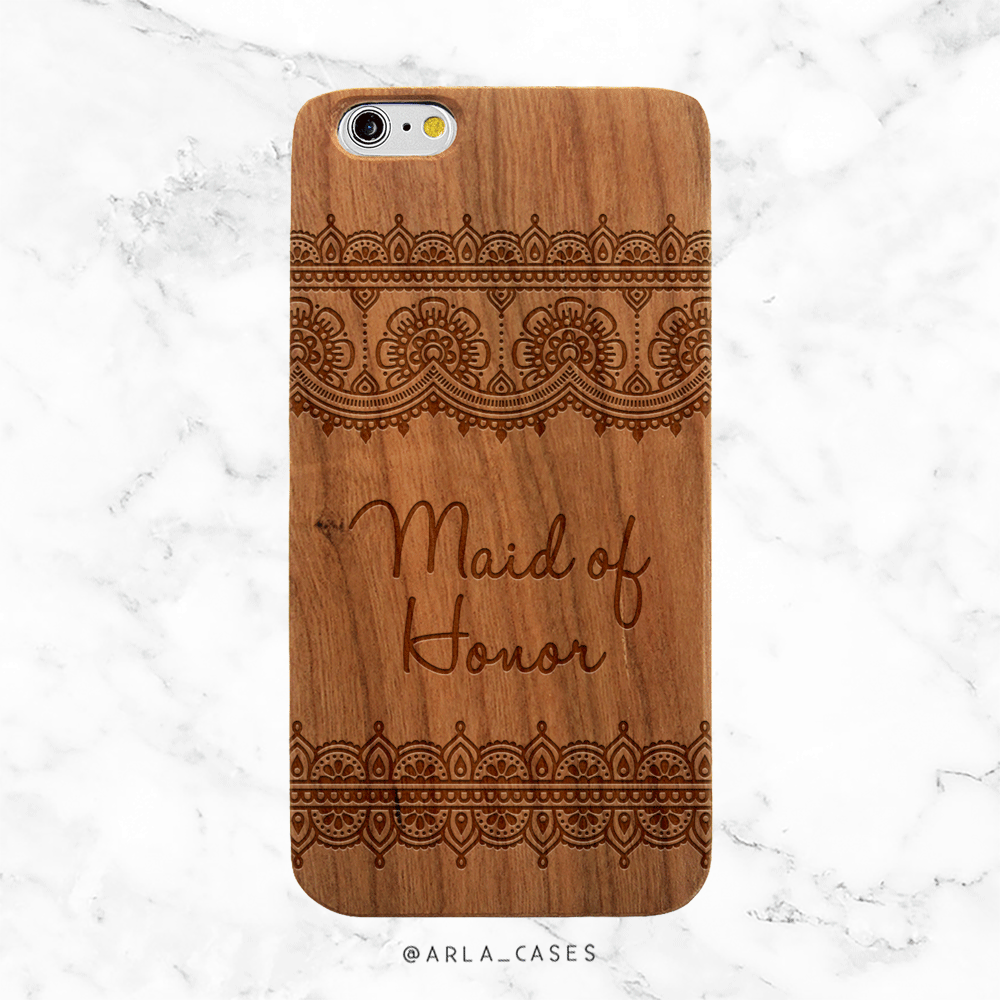 Maid of Honor Lace Wedding Wood Phone Case