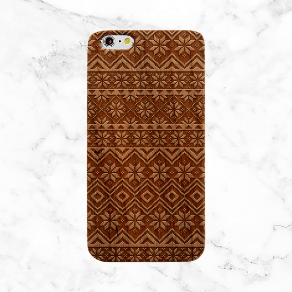 Fair Isle Christmas Sweater Wood Phone Case