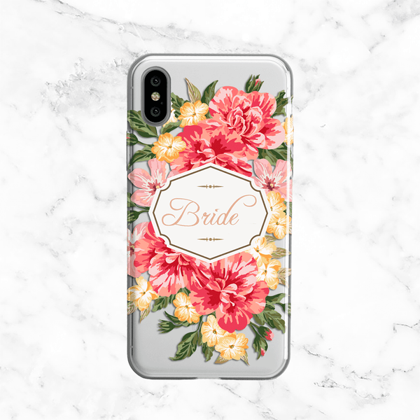Vintage Floral Bride Wedding Phone Case - Clear Printed TPU