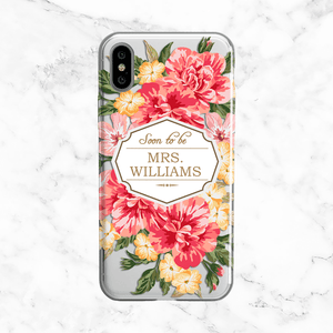Custom Vintage Floral Bride Wedding Phone Case - Clear Printed TPU