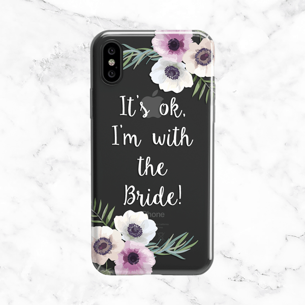 Floral White Bridal Party Wedding Phone Case - Clear Printed TPU