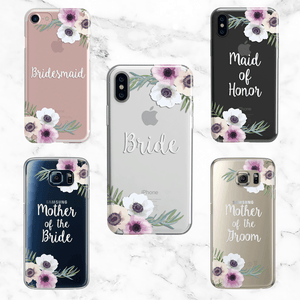 Wedding Party Set of 5 Anemone Flower Cases - Clear Printed TPU