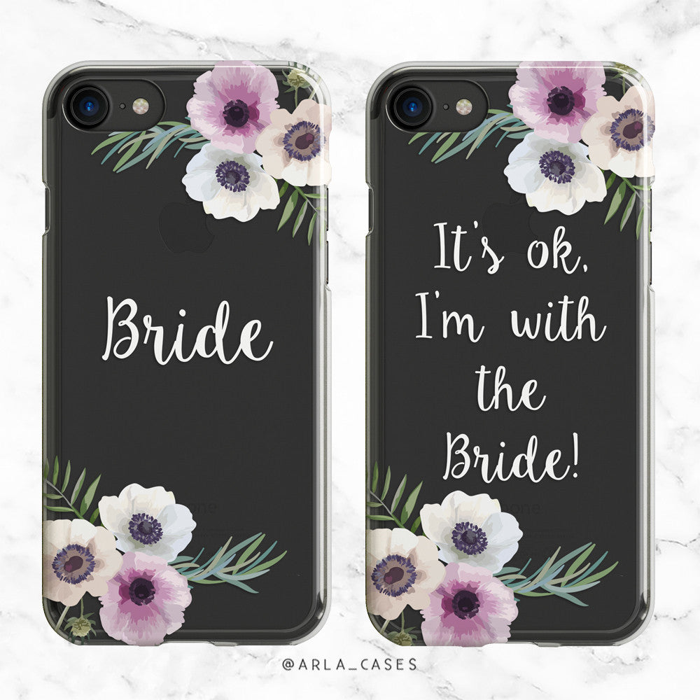 Floral Bride White Wedding Phone Case - Clear Printed TPU