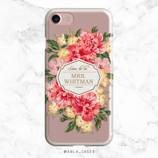Custom Vintage Floral Bride iPhone Case