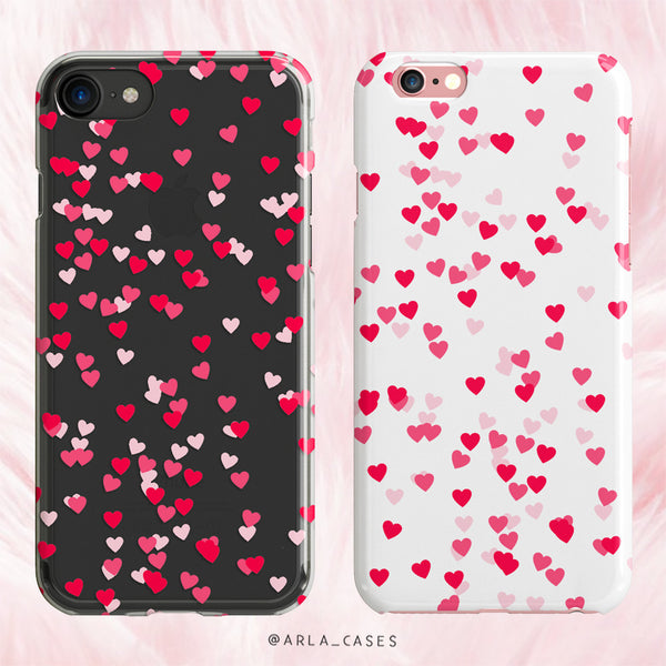 Red & Pink Hearts - Valentine's Day Clear Phone Case with Print