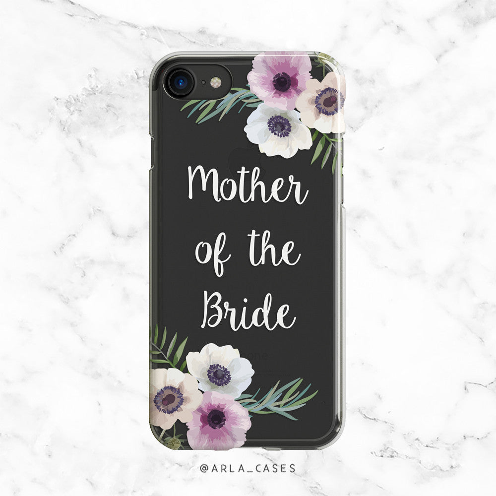 Mother of the Bride White Floral Wedding Phone Case - Clear Printed TPU