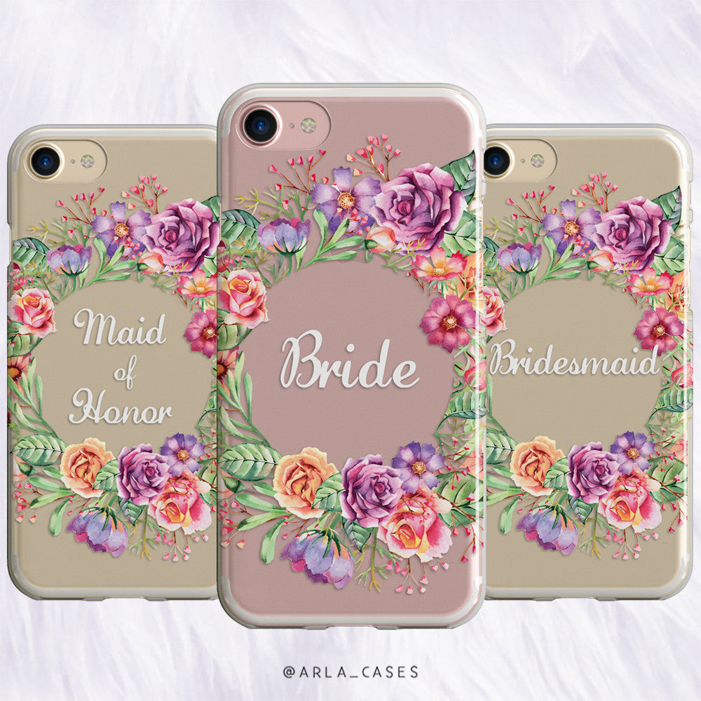 Bridesmaid Flower Crown Wedding Phone Case - Clear Printed TPU