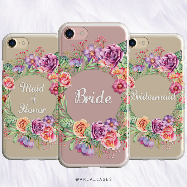 Maid of Honor Flower Crown Wedding Phone Case - Clear Printed TPU