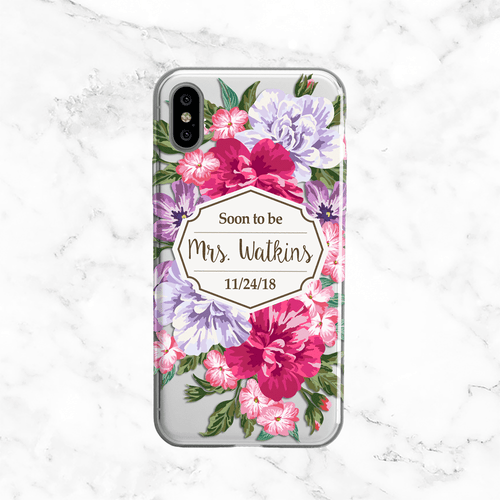 Custom Floral Bride Wedding Phone Case - Clear Printed TPU