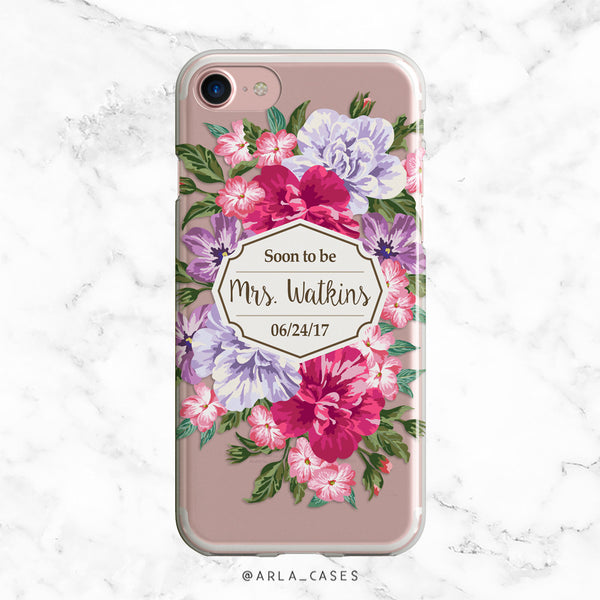 Custom Floral Bride iPhone Case