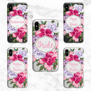 Wedding Party Set of 5 Cases - Clear Printed TPU