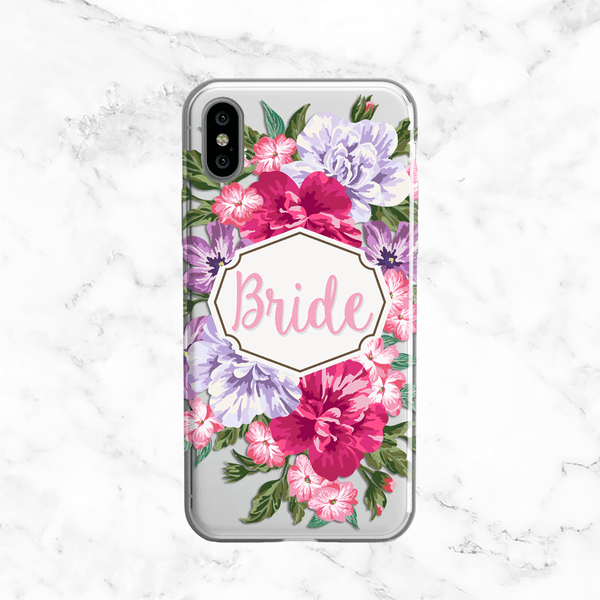 Bride Floral Bouquet Wedding Phone Case - Clear Printed TPU