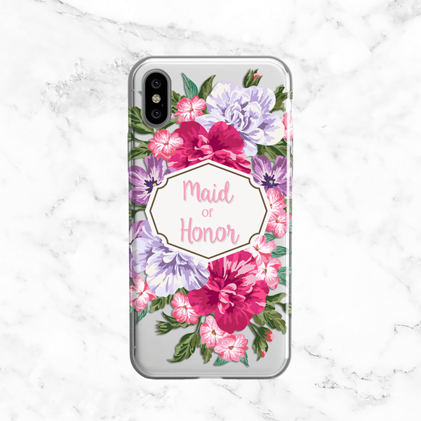 Maid of Honor Floral Bouquet Wedding Phone Case - Clear Printed TPU