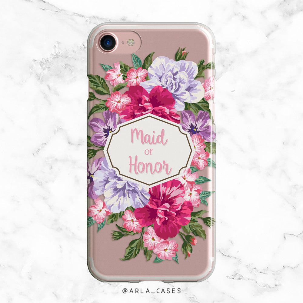 Maid of Honor Floral Bouquet iPhone Case