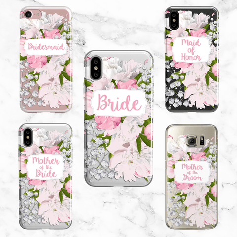 Wedding Party Set of 5 Peony Cases - Clear Printed TPU