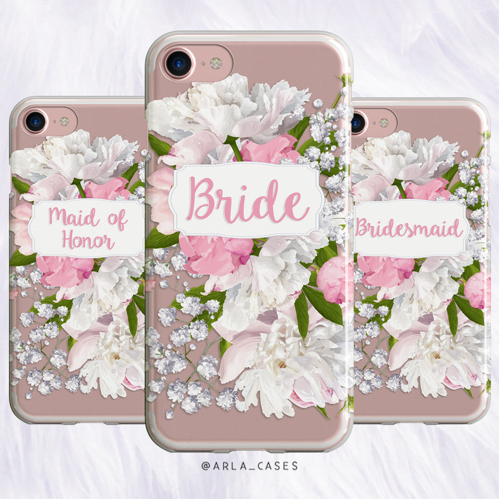 Maid of Honor Peony Wedding Phone Case - Clear Printed TPU