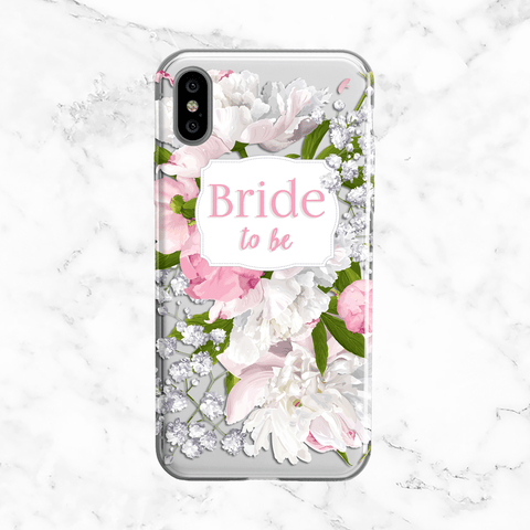 White Peony Bride to Be Wedding Phone Case