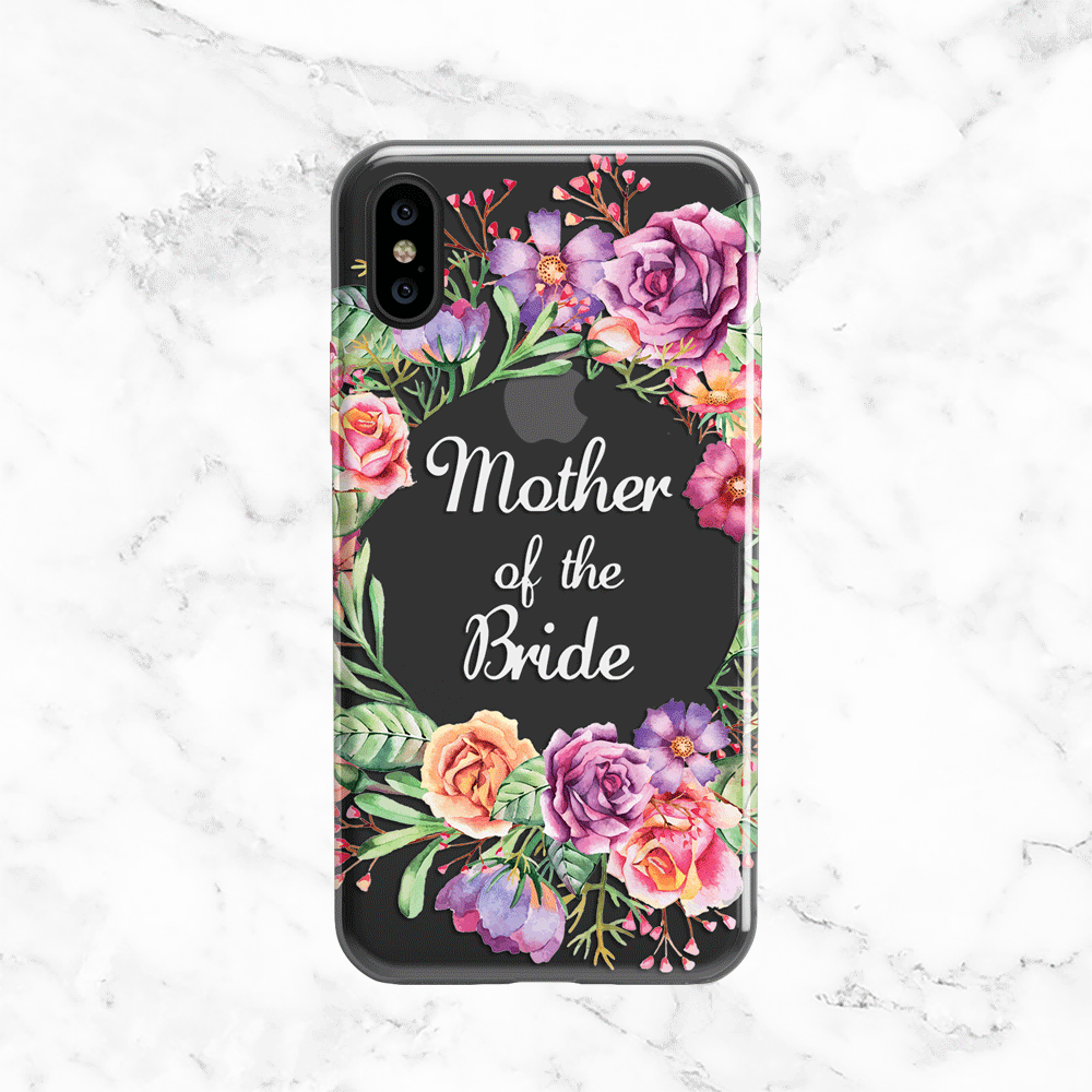 Mother of the Bride Flower Crown Wedding Phone Case - Clear Printed TPU