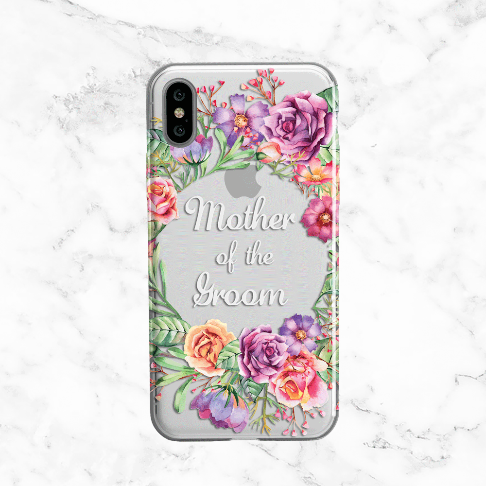Mother of the Groom Flower Crown Wedding Phone Case - Clear Printed TPU