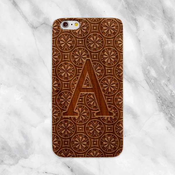 Monogram Engraved Wood Phone Case