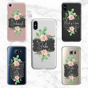 Wedding Party Set of 5 Cactus Cases - Clear Printed TPU