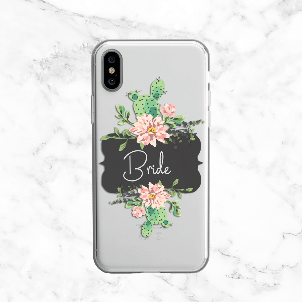 Bride Cactus Wedding Phone Case - Clear Printed TPU