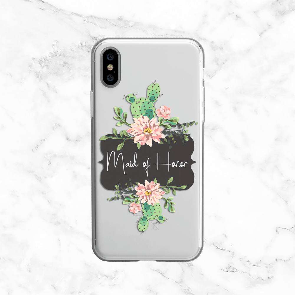 Maid of Honor Cactus Wedding Phone Case - Clear Printed TPU