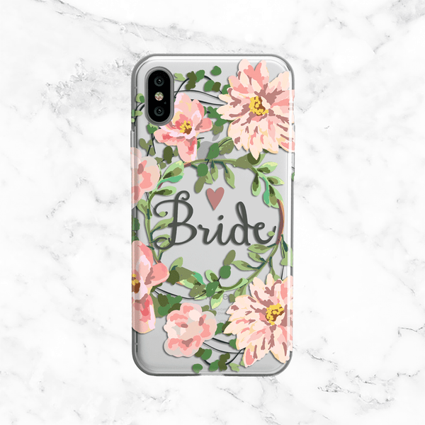 Bride Floral Wreath Wedding Phone Case - Clear Printed TPU