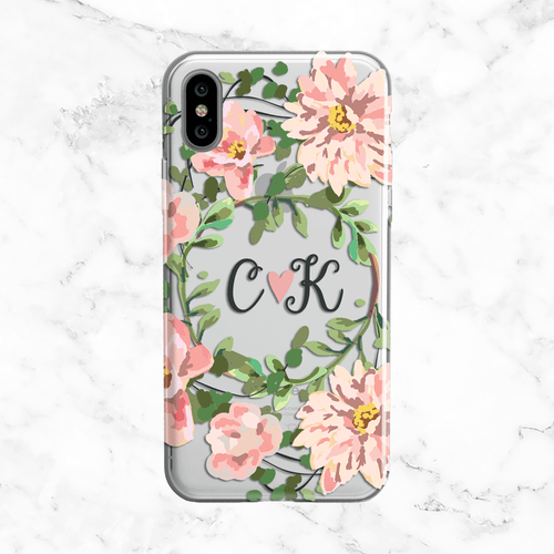 Custom Initials Phone Case - Pink Flower Crown - Clear TPU