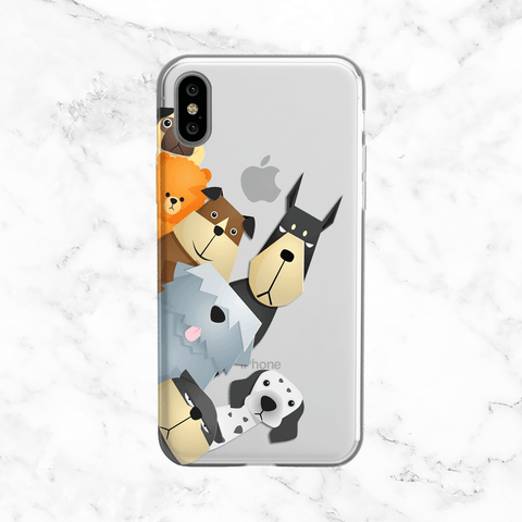 Peeking Dogs - Clear Printed Animal TPU Phone Case