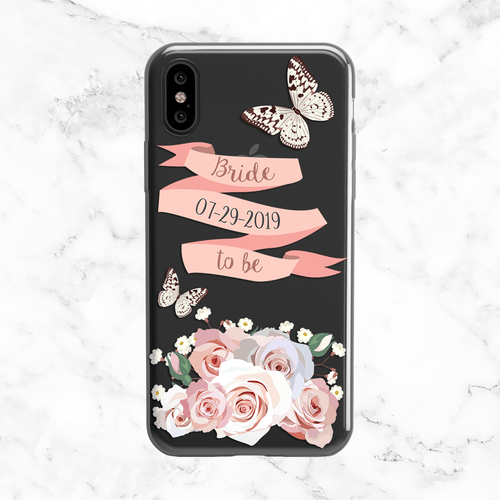 Custom Floral Bride Wedding Date Phone Case - Clear Printed TPU