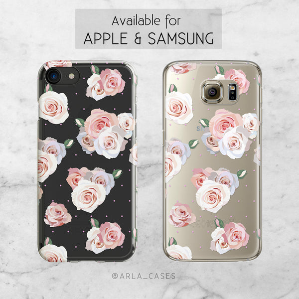 Pink Roses - Clear TPU Phone Case Cover