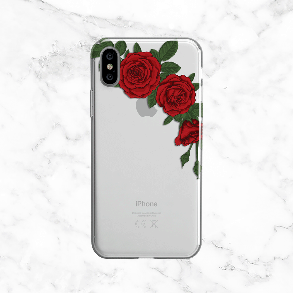 Red Rose - Clear TPU Phone Case Cover