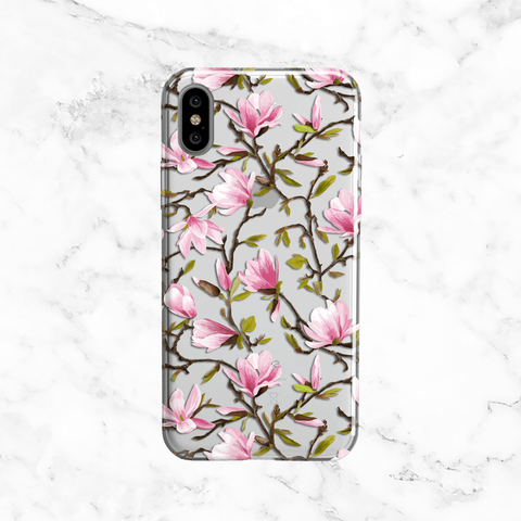 Magnolia Phone Case - Clear Printed TPU