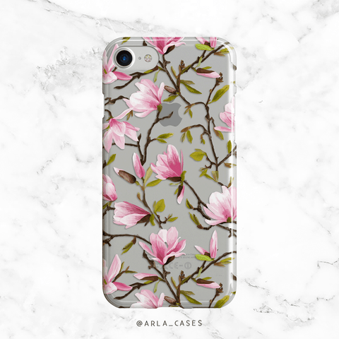 Pink Magnolias Clear iPhone and Galaxy Case