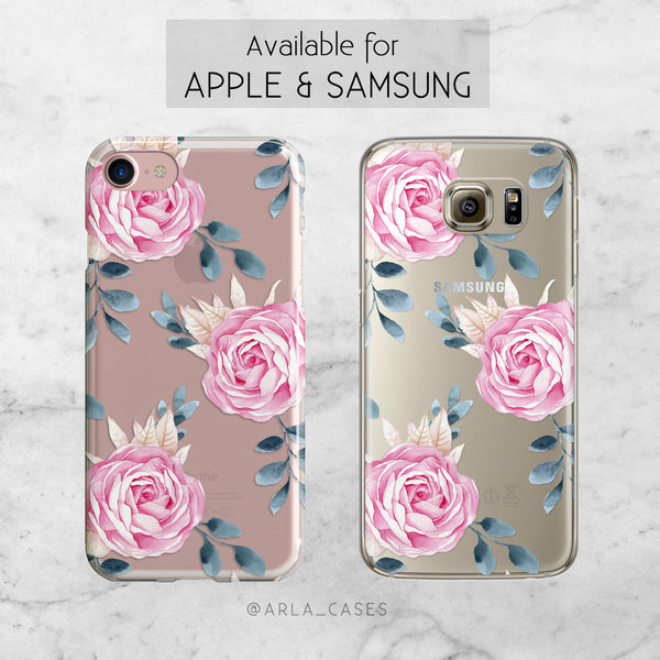 Watercolor Roses - Clear TPU Phone Case Cover
