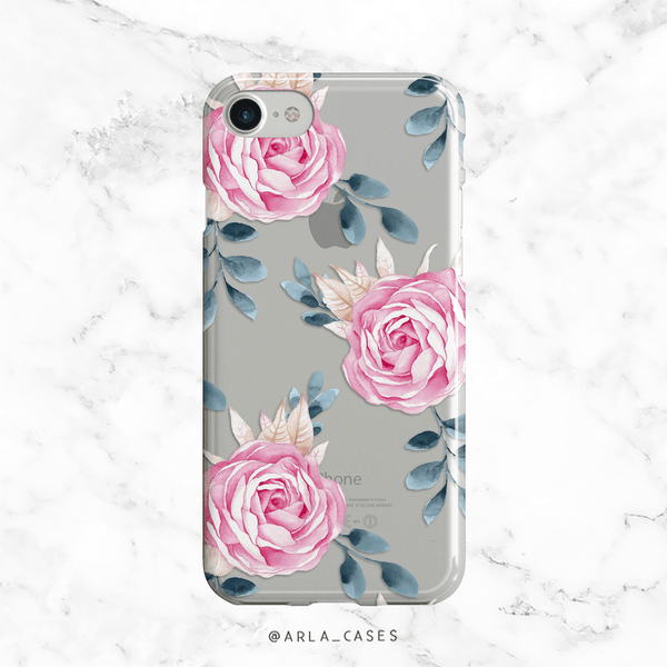Pink Roses Clear iPhone and Galaxy Phone Case