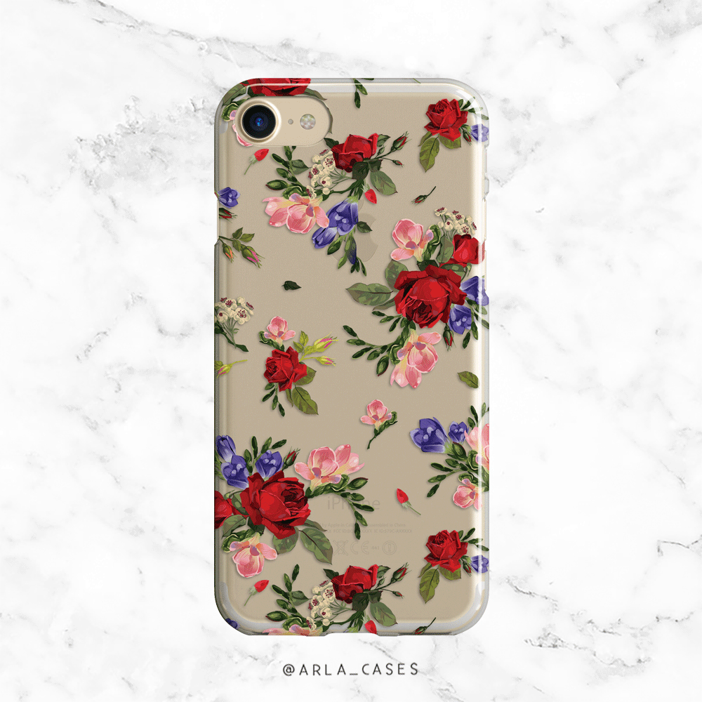 Rose Flowers Clear iPhone and Galaxy Phone Case