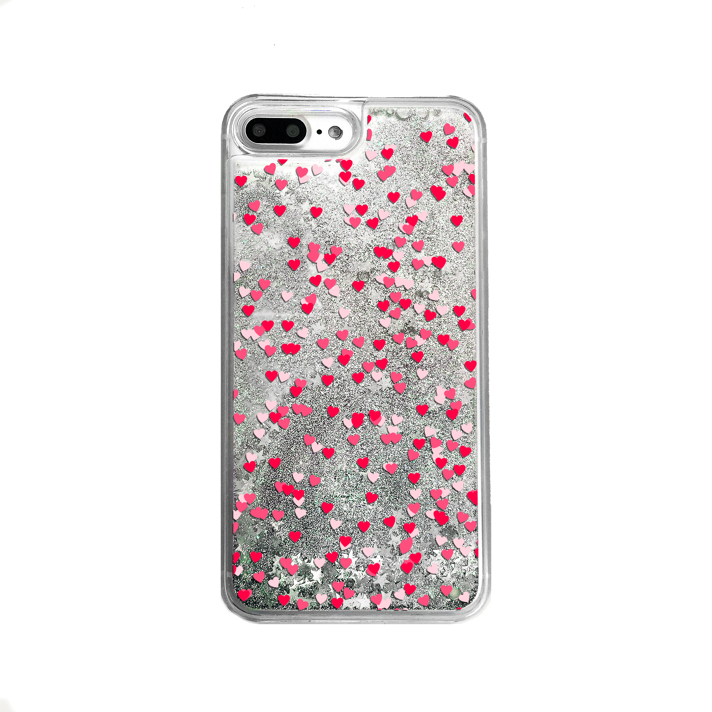 Silver Glitter Hearts iPhone Case