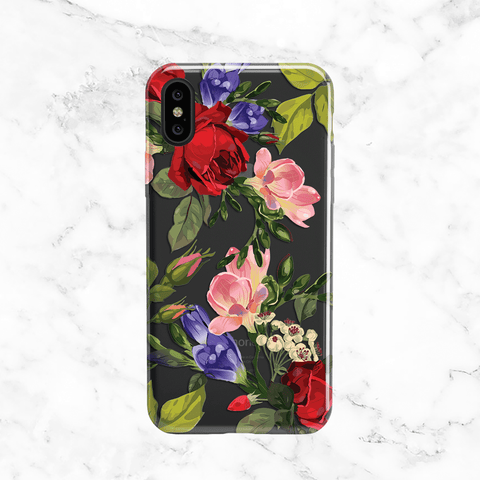 Red Roses, Purple and Pink Flowers Printed on Clear TPU - Phone Case for iPhone and Samsung
